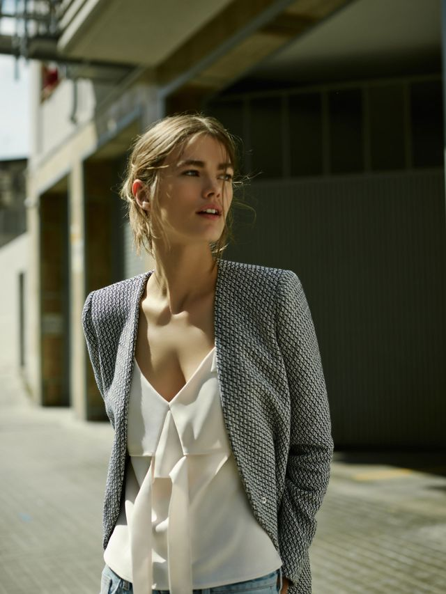 Get the Look: Zara Long Jacquard Blazer (£50) and Medium-Rise Wide Cut Jeans (£30).