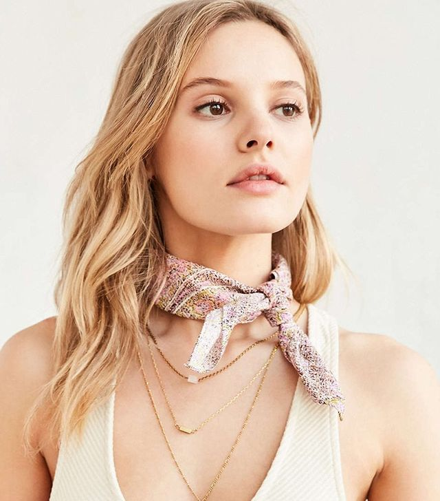 Urban Outfitters Cotton Patterned Square Neck Scarf