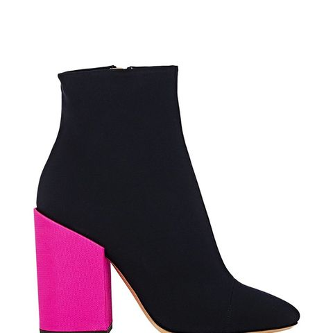 Colorblocked Cap-Toe Ankle Boots