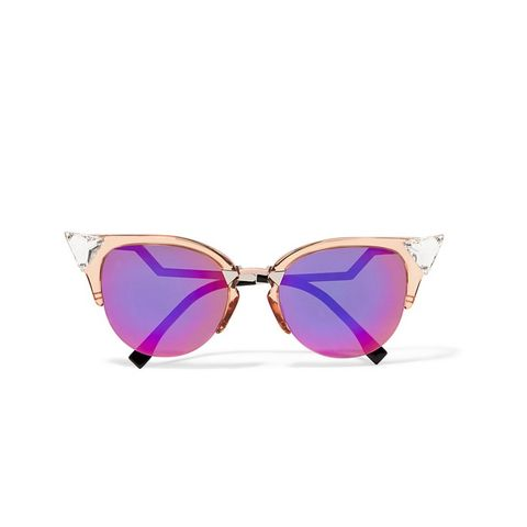 Swarovski Crystal-Embellished Cat-Eye Acetate and Metal Sunglasses