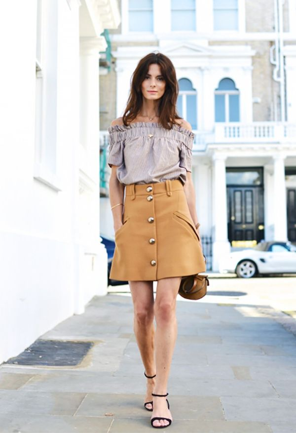 Style Tip: Tuck an off-the-shoulder top into an A-line miniskirt.