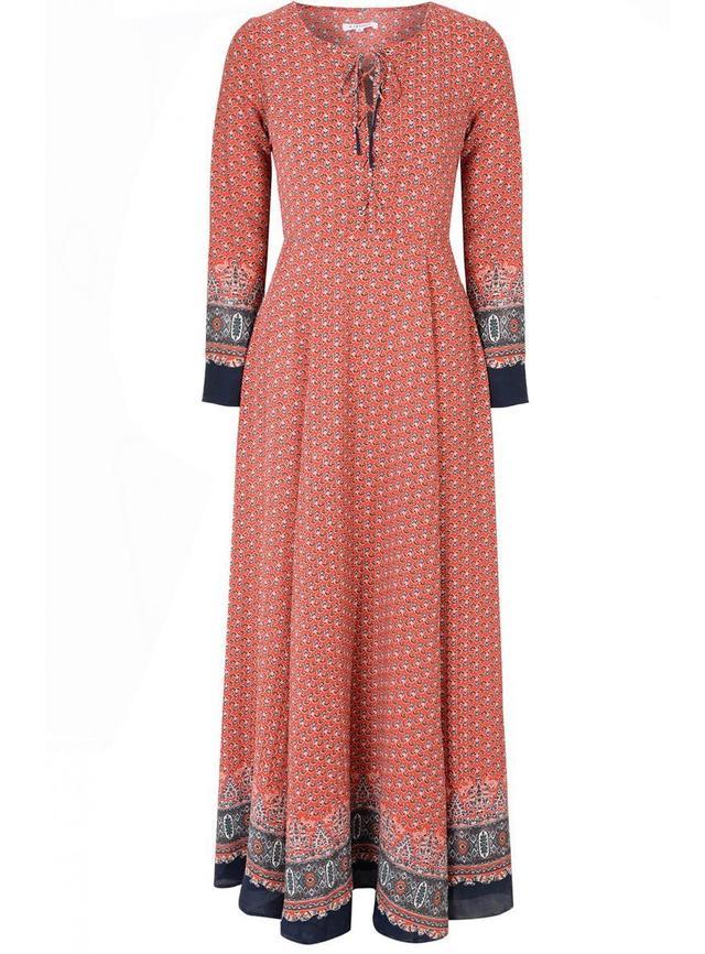 Glamorous Red Navy Border Print Lace Up Maxi Dress