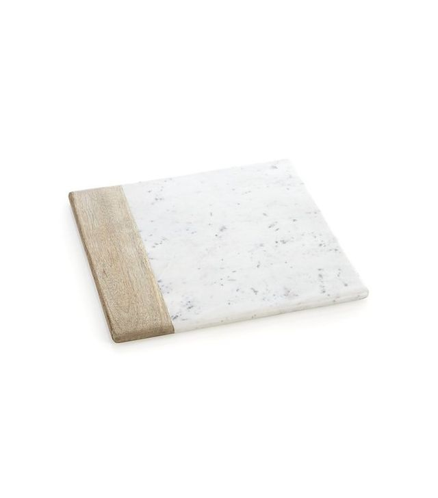 Crate and Barrel Wood-Marble Square Platter