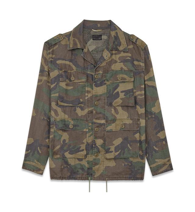 Saint Laurent Hunter Jacket in Green Vintage Camoflauge Cotton