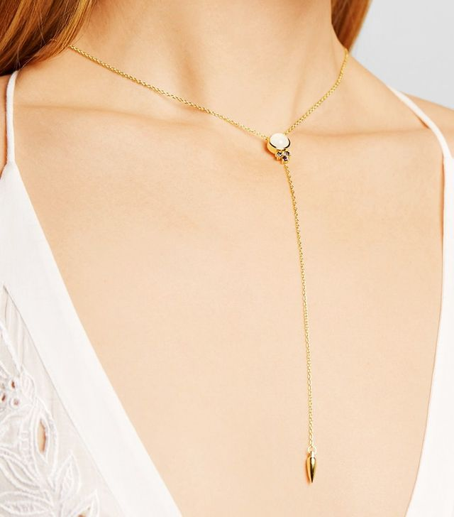 Pamela Love Levitation Lariat Gold-Plated, Moonstone and Iolite Necklace