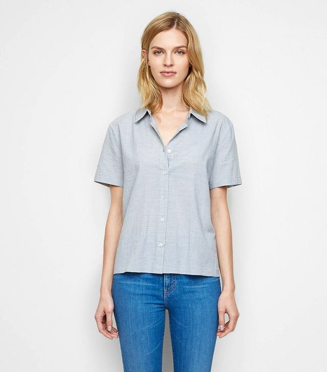 Jenni Kayne Cotton Baby Stripe Short Sleeve Shirt