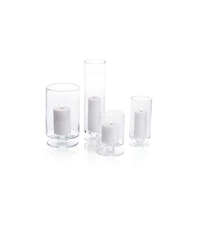 Crate & Barrel London Glass Hurricane Candle Holders