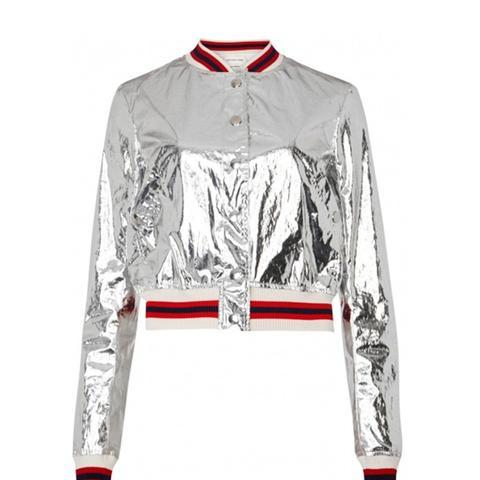 Fema Silver Appliquéd Bomber Jacket