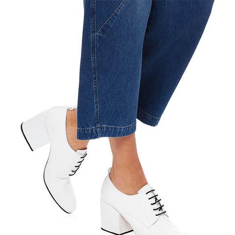 White Leather Block Heel Sheos