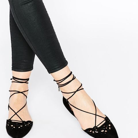 Harmony Black Leather Laser Cut Ghillie Lace Up Flat Shoes
