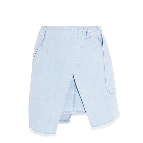 Denim Wrap-Effect Mini Skirt