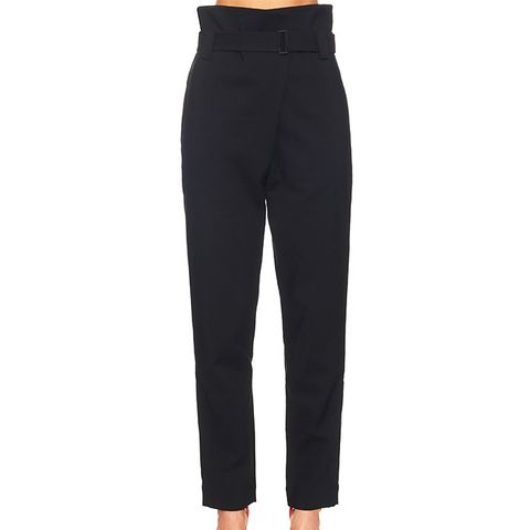 High-Rise Tapered-Leg Cotton-Blend Trousers