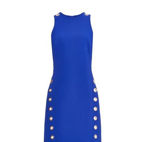Eyelet-Embellished Bonded-Crepe Dress