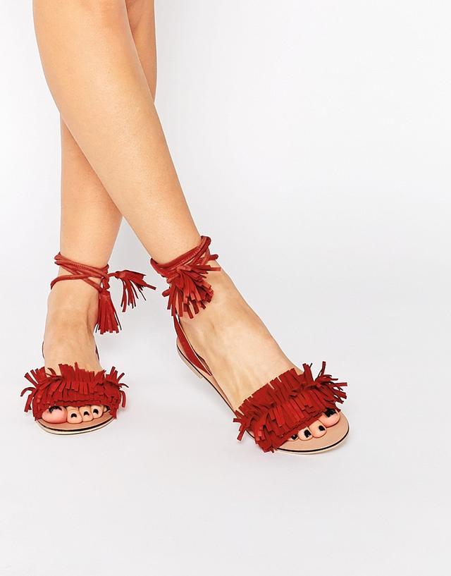 ASOS Flashy Suede Tie Leg Fringe Sandals