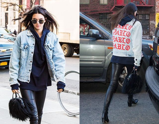 Style Notes:If you're going to wear a jacket splattered with album name graffiti, keep the rest simple. Kendall Jenner paired Kanye's Pablo jean jacket with her off-duty staples:...