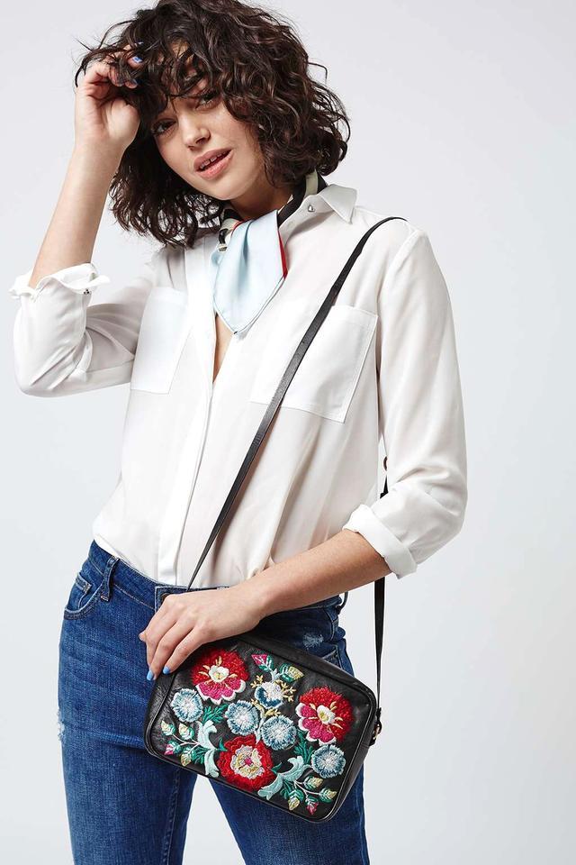 Topshop Floral Leather Crossbody Bag