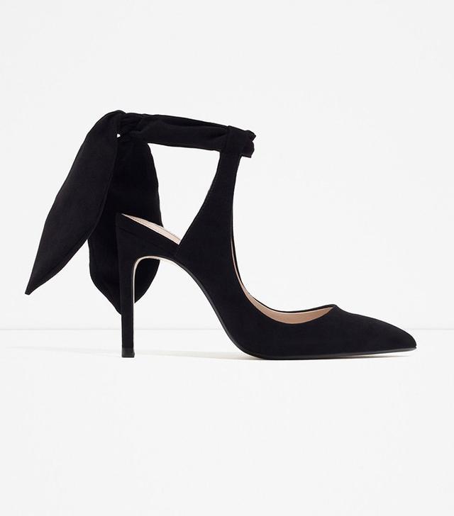 Zara Slingback High Heel Shoes With Bow