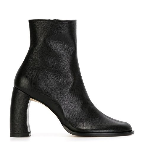 Curved Heel Ankle Boots