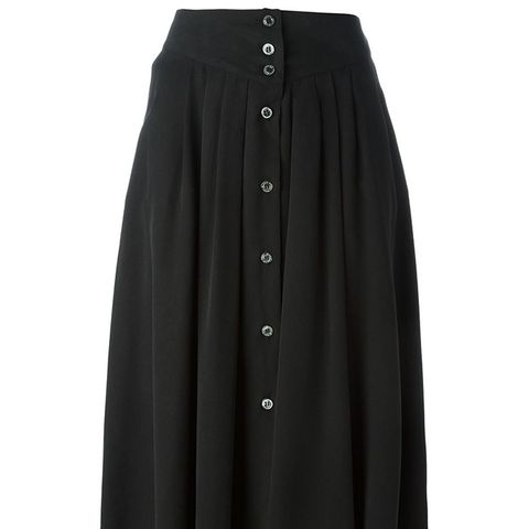 Buttoned Pleated Midi Skirt