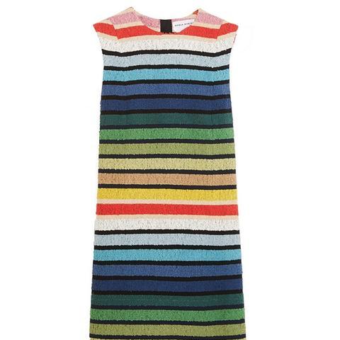 Striped Cotton-Blend Terry Mini Dress