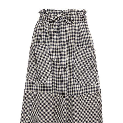 Gingham-Check Seersucker Skirt
