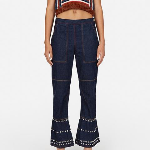 Studded Denim Pants