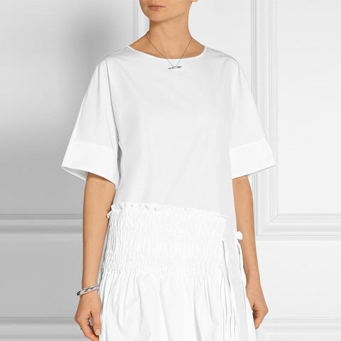 Smocked Cotton-Poplin Mini Dress