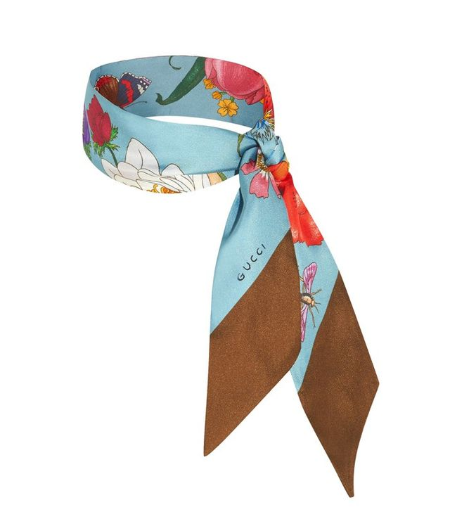 Gucci Floral Print Silk Twill Scarf