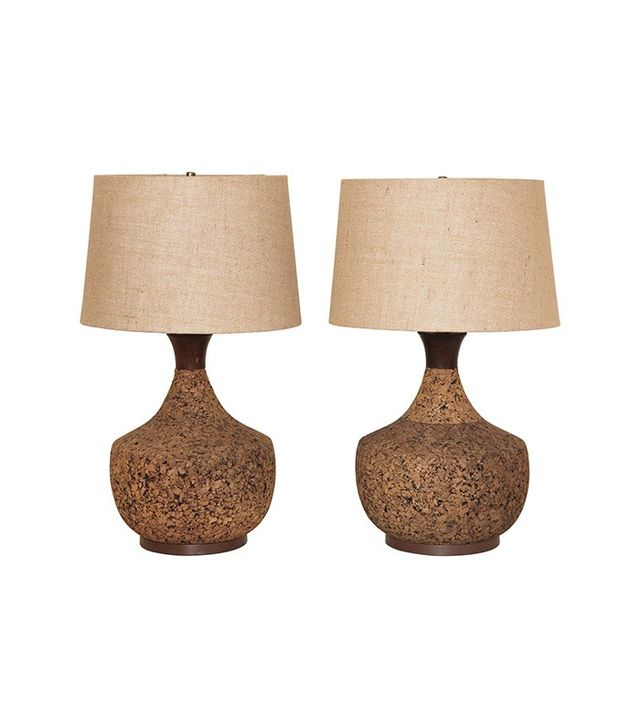 Pair of Midcentury Modern Cork Lamps