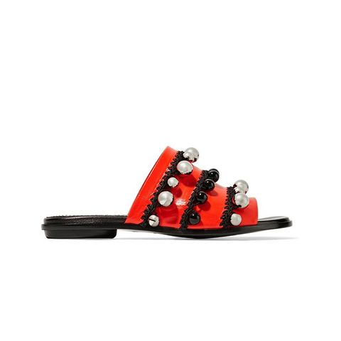 Bead-Embellished Leather Slides