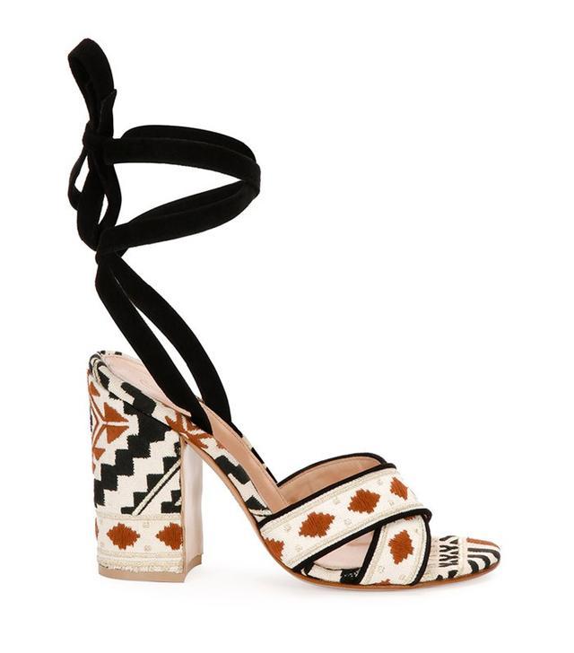 Gianvito Rossi Geometric-Print Ankle-Wrap Sandals