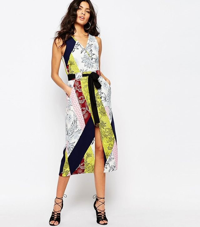 River Island Printed Tie Waist Wrap Dress