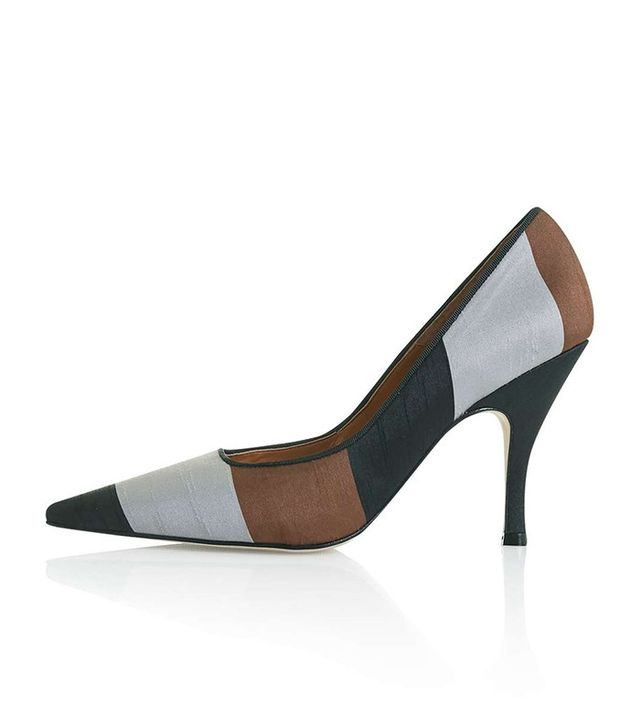 Topshop Glam Striped Court Shoes