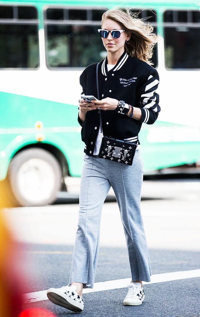 5. Varsity Jacket and  Cropped Trousers