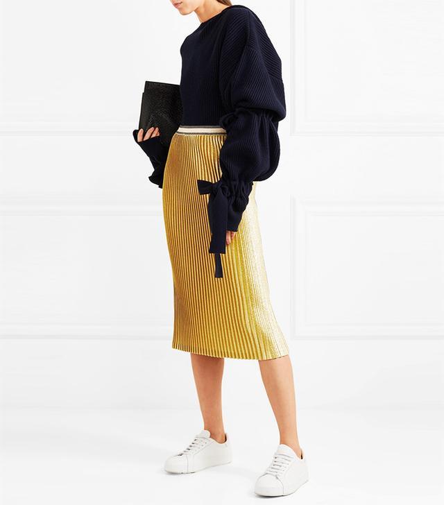 Susianna Plissé Glittered Stretch-Knit Midi Skirt