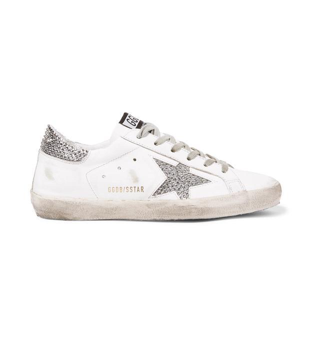 Superstar Swarovski Crystal-embellished Distressed Leather Sneakers