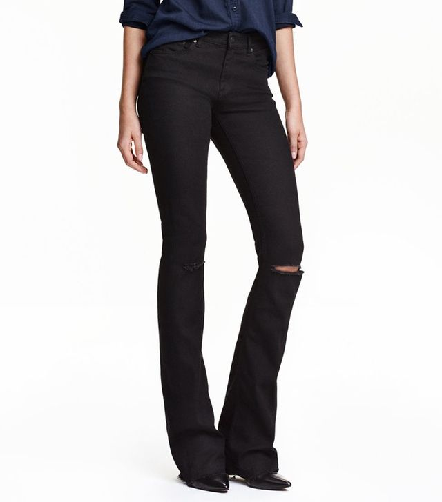H&M Skinny Flared Ripped Jeans