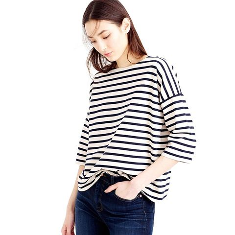Oversized Drop Sleeve Striped T-Shirt