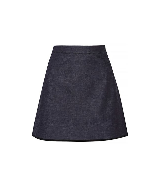 Victoria Victoria Beckham Silk-Trimmed Stretch-Denim Mini Skirt