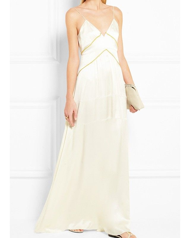Burberry Prorsum Metallic Trimmed Silk Satin Gown