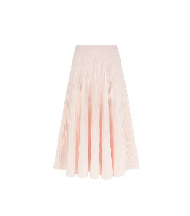Cédric Charlier Light Pink Ribbed Knit Skirt
