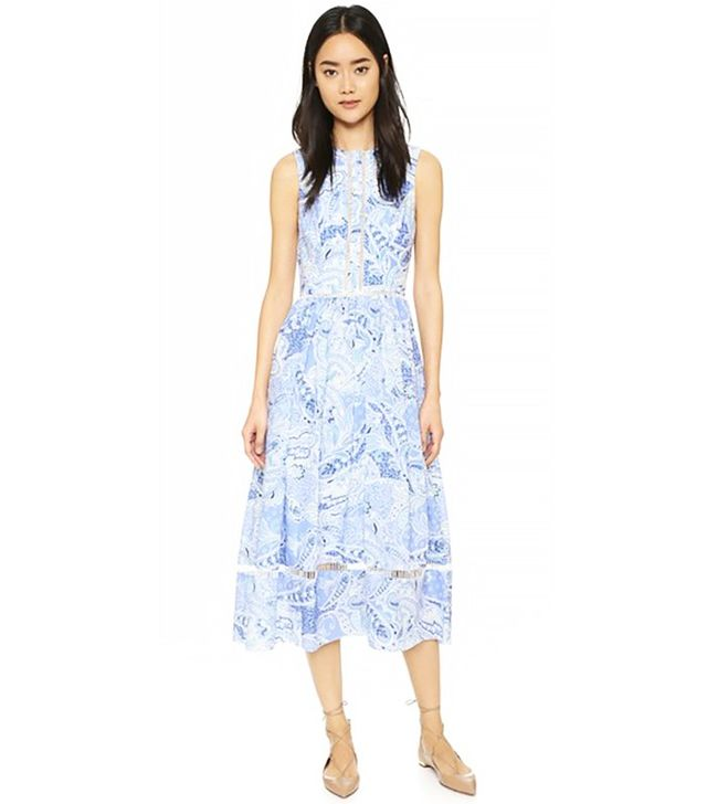 Cynthia Rowley Midi Dress with Contrast Trim