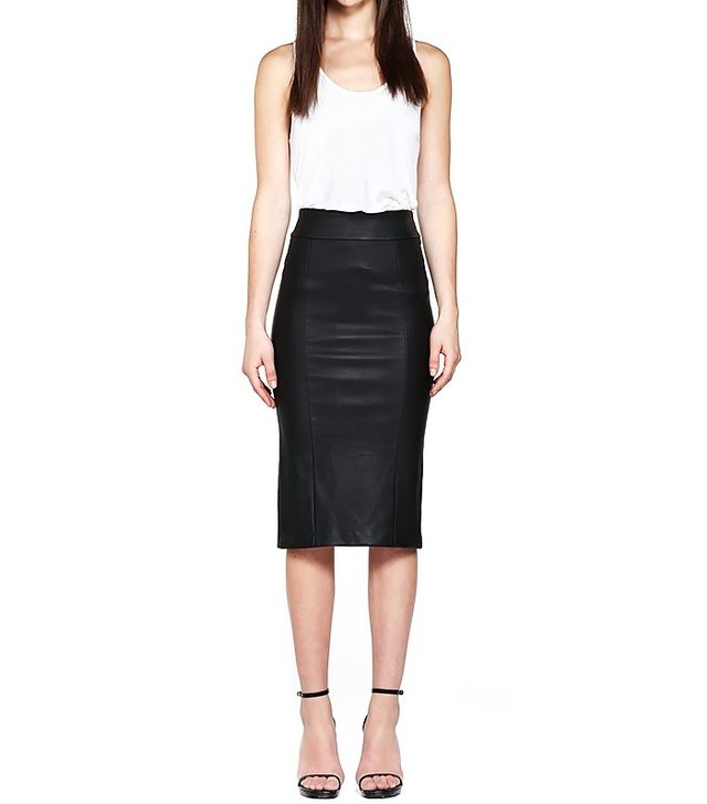Mackage Lucille-L Black Leather Pencil Skirt
