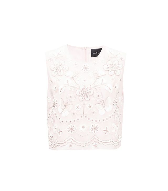Needle & Thread Petal Pink Embellished Bib Top