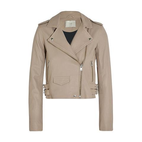 Ashville Cropped Leather Biker Jacket
