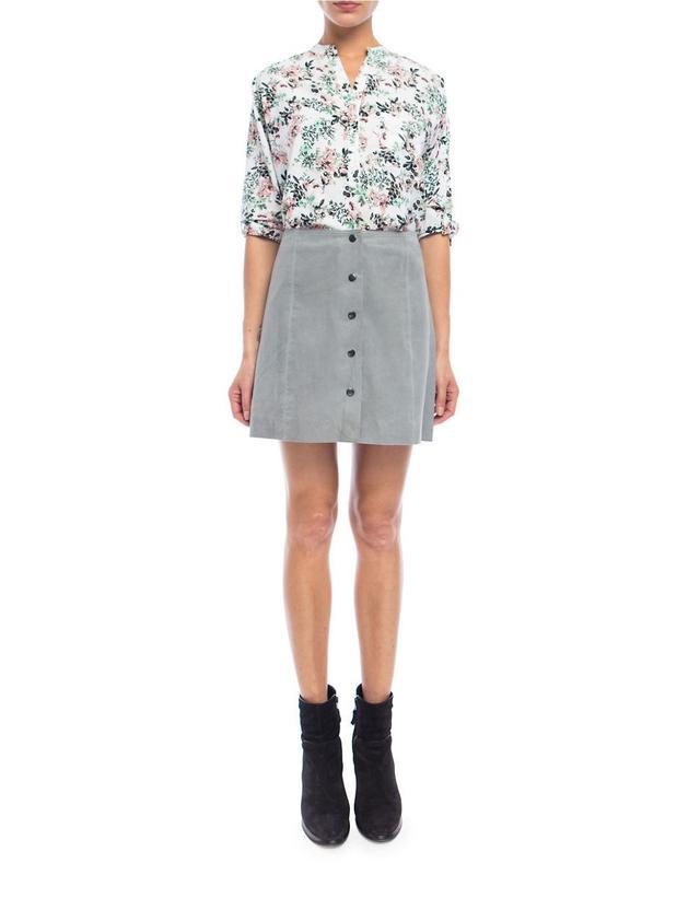 Walter Baker Tara A-Line Button-Front Suede Skirt