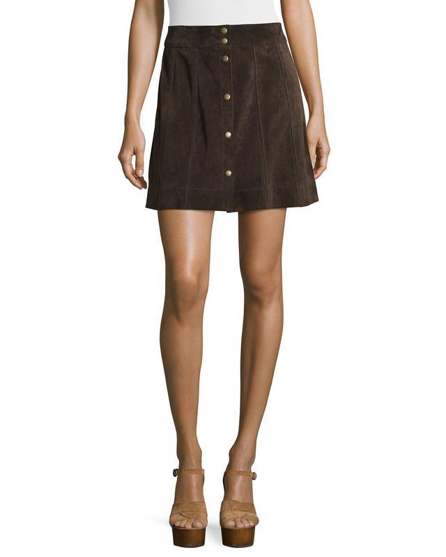 Frame Denim Le Paneled Suede Mini Skirt, Chocolate Brown