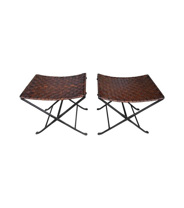 Vintage Hand-Forged Metal and Leather Strap Folding Stools