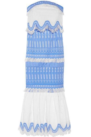 Jonathan Simkhai Strapless Cotton-Blend Jacquard Midi Dress