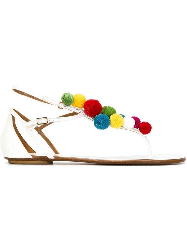 Aquazzura Pon Pon Flat Sandals